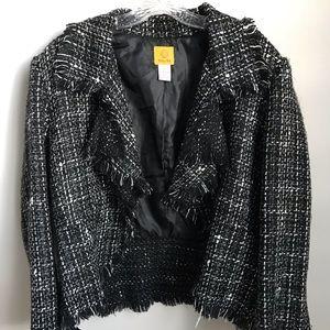 Ruby Rd. Frayed Tweed Jacket